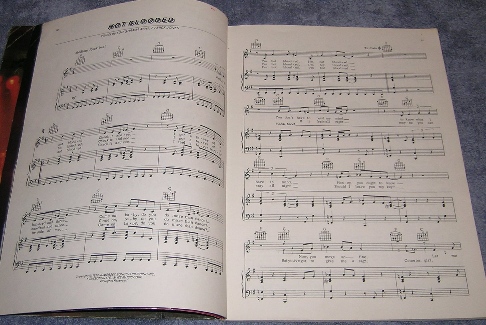 Vintage  Foreigner Double Vision Song Book Sheet Music Color Pics